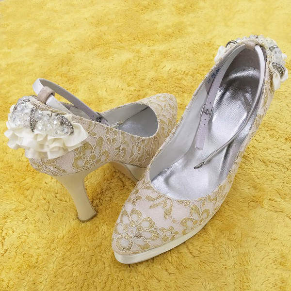 Women's Lace with Crystal Buckle Stiletto Heel Pumps Closed Toe