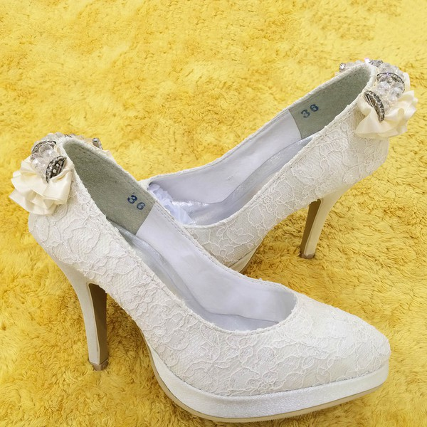 Women's Lace with Satin Flower Sequin Stiletto Heel Pumps Closed Toe