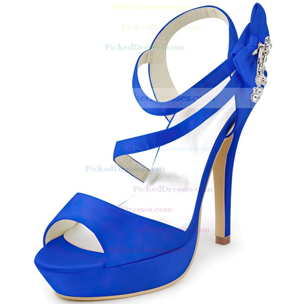 Women's Satin with Rhinestone Bowknot Stiletto Heel Pumps Sandals Platform Slingbacks