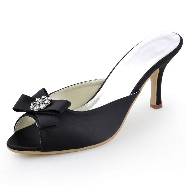 Women's Satin with Bowknot Crystal Stiletto Heel Sandals Peep Toe Slingbacks