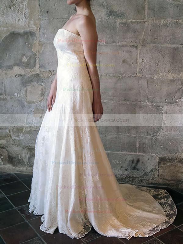 Newest Trumpet/Mermaid Strapless Ruffles Ivory Lace Wedding Dress #PDS00020556