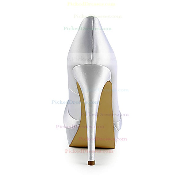 Women's Satin with Bowknot Stiletto Heel Pumps Peep Toe Platform