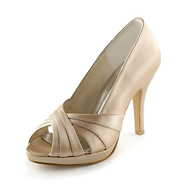 Women's Satin with Hollow-out Stiletto Heel Pumps Peep Toe