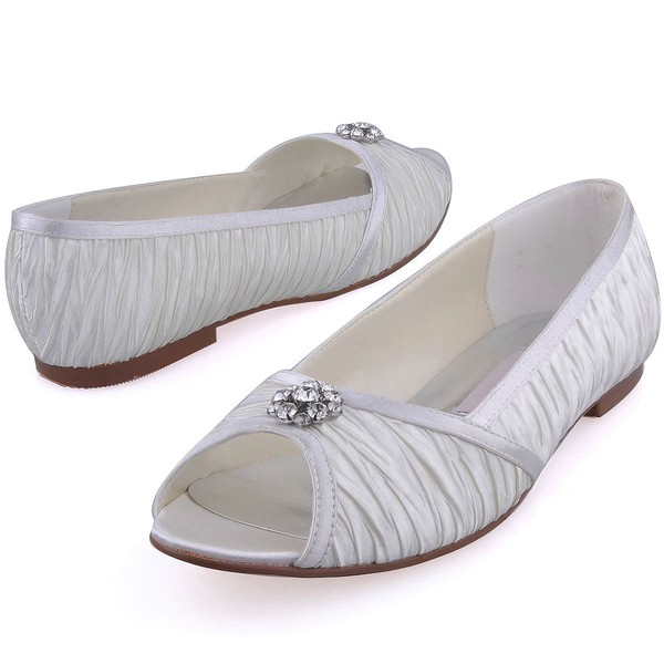 Women's Satin with Crystal Ruffles Flat Heel Peep Toe Flats