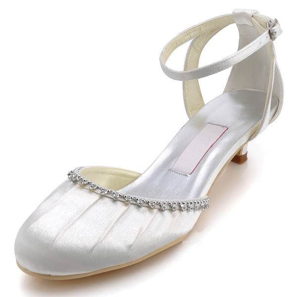 Women's Satin with Crystal Ruffles Buckle Low Heel Closed Toe Sandals