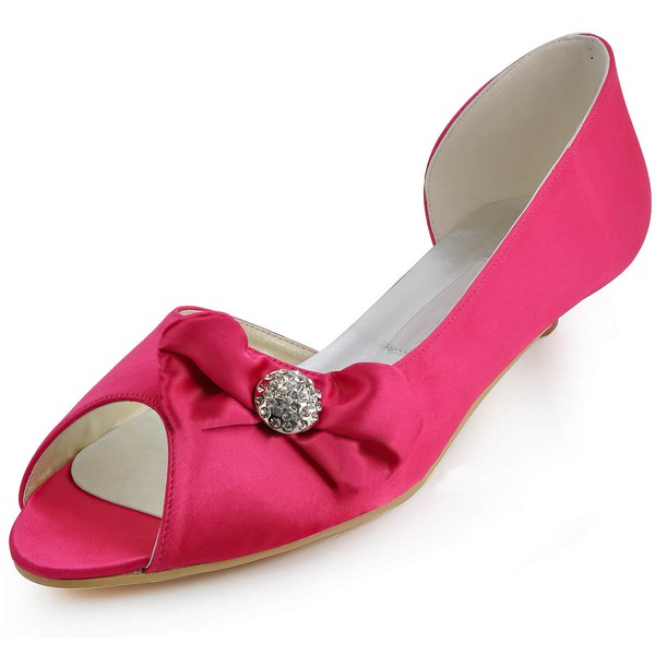 Women's Satin with Bowknot Low Heel Pumps Peep Toe