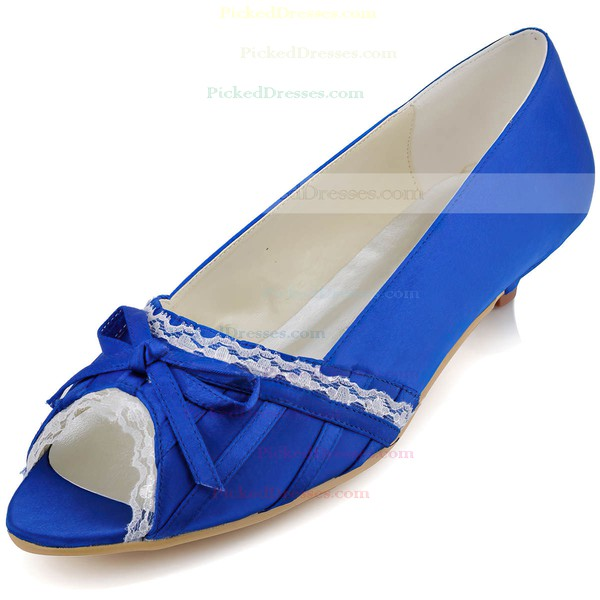 Women's Satin with Bowknot Stitching Lace Low Heel Pumps Peep Toe