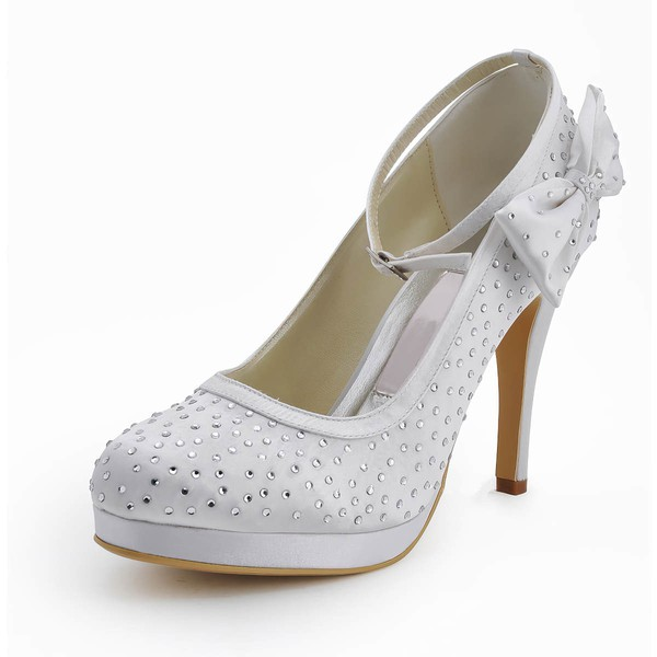 Women's Satin with Rhinestone Buckle Bowknot Stiletto Heel Pumps Closed Toe Platform