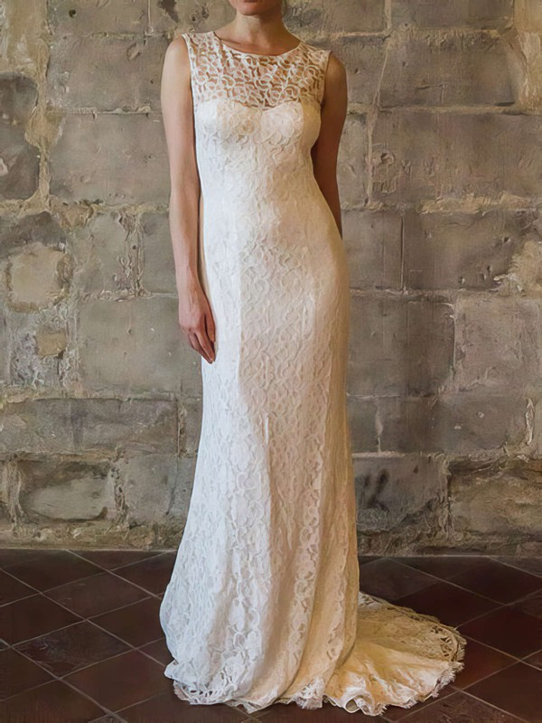 Pretty Sheath/Column Ivory Scoop Neck Ruffles Lace Wedding Dresses #PDS00020558