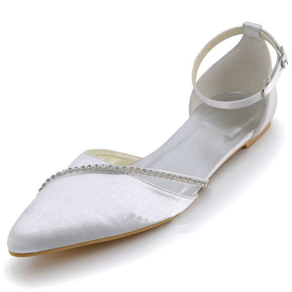 Women's Satin with Rhinestone Buckle Flat Heel Closed Toe Flats