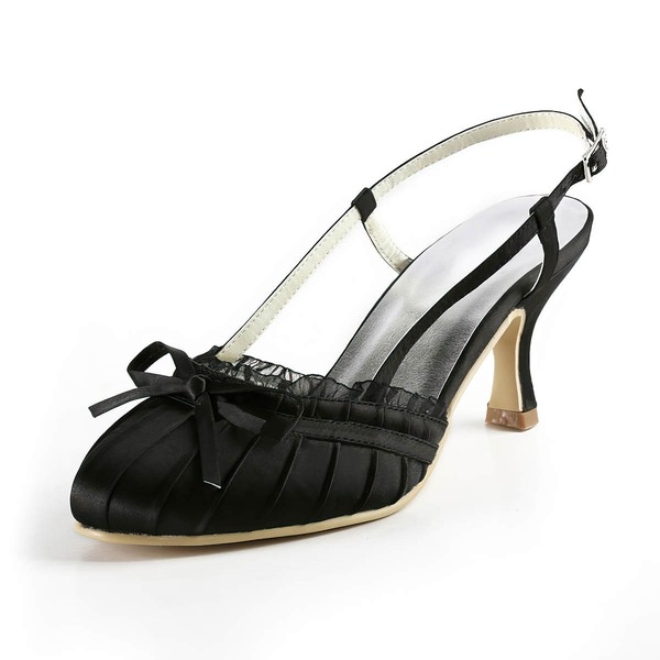Women's Satin with Buckle Bowknot Stitching Lace Kitten Heel Closed Toe Sandals Slingbacks