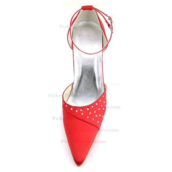 Women's Satin with Buckle Beading Stiletto Heel Pumps Closed Toe