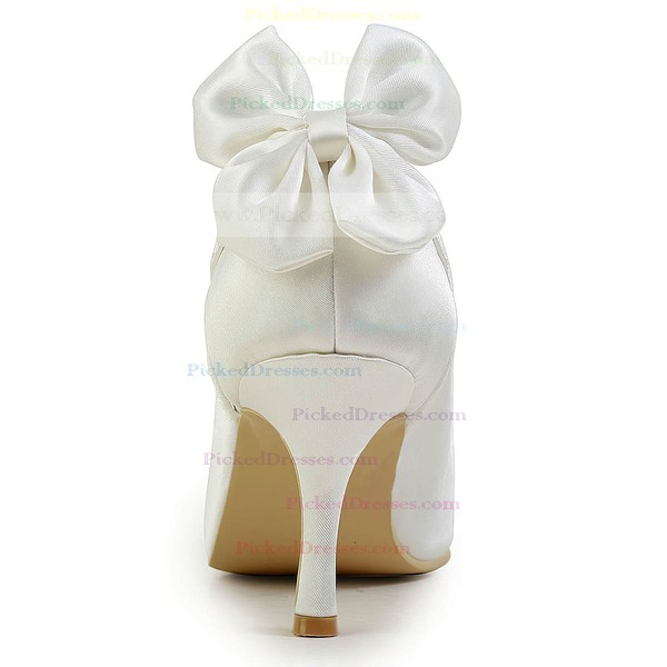 Women's Satin with Bowknot Hollow-out Stiletto Heel Pumps Closed Toe