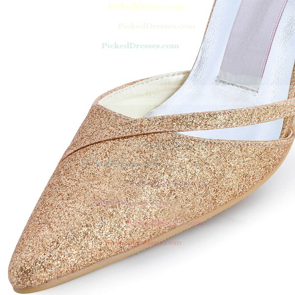 Women's Satin with Rhinestone Buckle Sequin Stiletto Heel Pumps Closed Toe