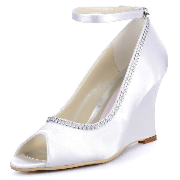 Women's Satin with Buckle Beading Wedge Heel Peep Toe Wedges