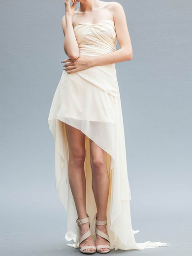 High Low Ivory Chiffon Strapless Asymmetrical Summer Wedding Dresses #PDS00020559