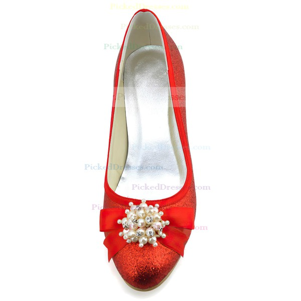 Women's Satin with Sequin Ribbon Tie Pearl Kitten Heel Pumps Closed Toe
