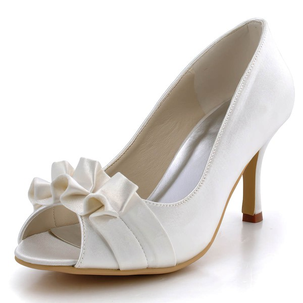 Women's Satin with Ruffles Stiletto Heel Pumps Peep Toe