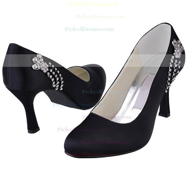 Women's Satin with Crystal Stiletto Heel Pumps Closed Toe