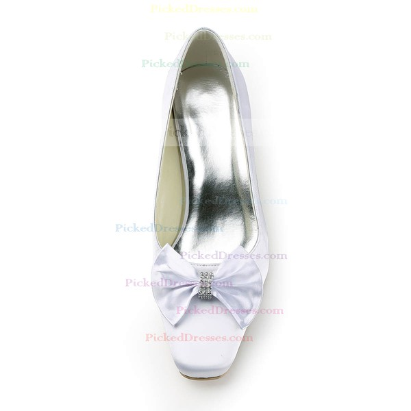 Women's Satin with Bowknot Crystal Chunky Heel Pumps Closed Toe