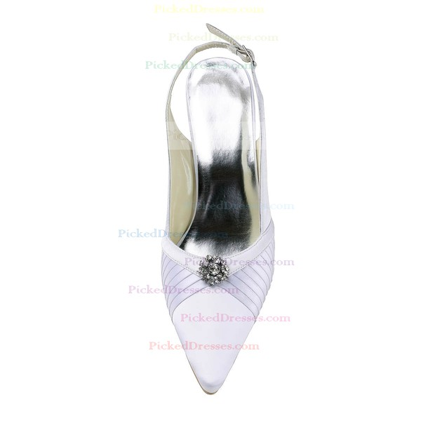 Women's Satin with Crystal Stiletto Heel Pumps Closed Toe Slingbacks