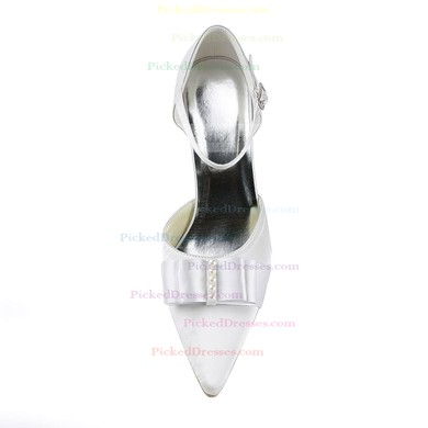 Women's Satin with Buckle Ribbon Tie Pearl Stiletto Heel Pumps Closed Toe #PDS03030144