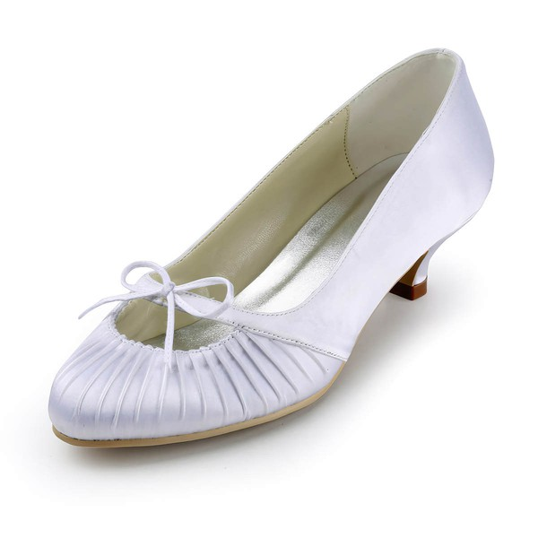 Women's Satin with Ruched Ribbon Tie Kitten Heel Pumps Closed Toe