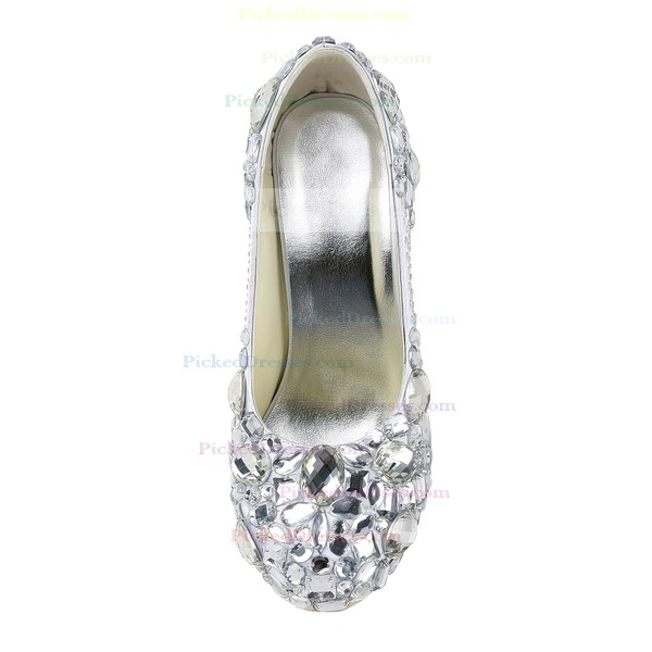Women's Satin with Rhinestone Crystal Heel Stiletto Heel Platform Closed Toe Pumps