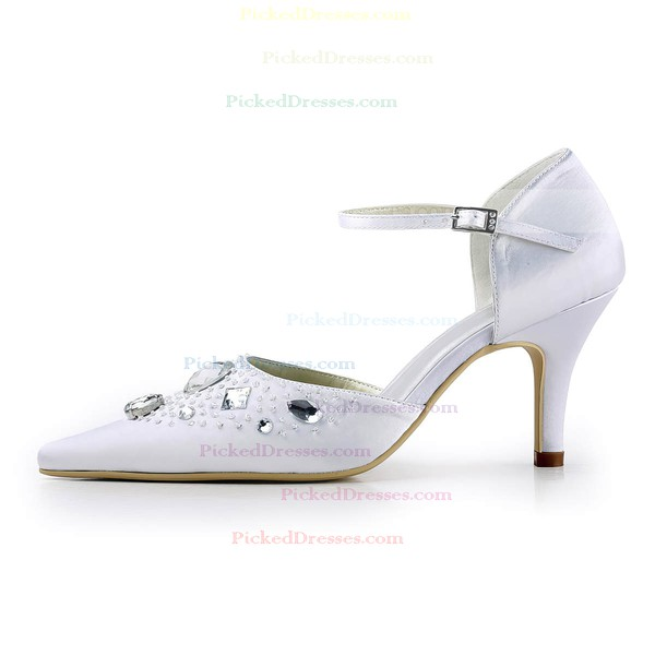 Women's Satin with Crystal Beading Buckle Spool Heel Pumps Closed Toe
