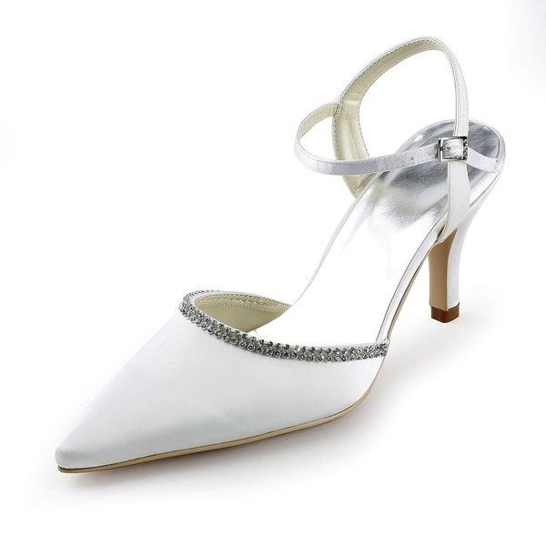 Women's Satin with Buckle Crystal Stiletto Heel Pumps Closed Toe Slingbacks