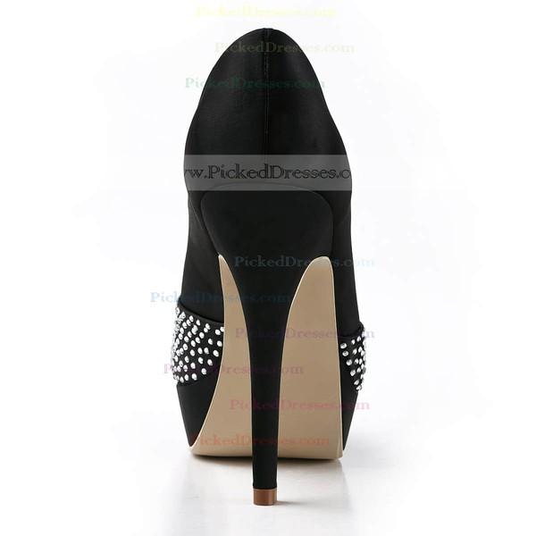 Women's Satin with Crystal Stiletto Heel Pumps Peep Toe Platform