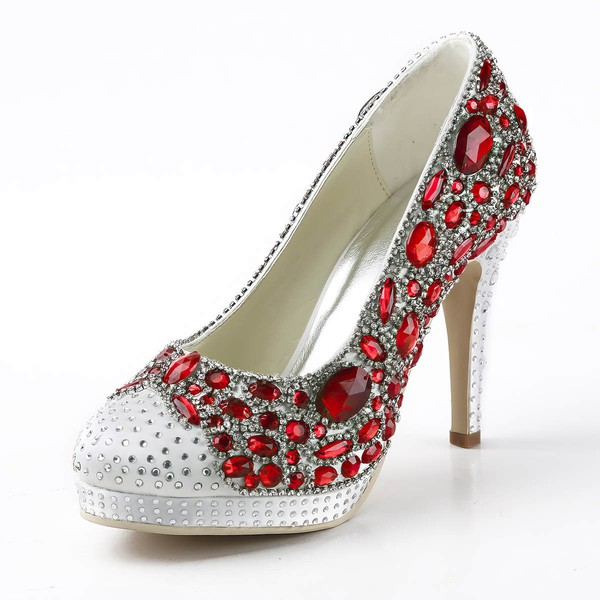 Women's Satin with Rhinestone Crystal Heel Stiletto Heel Pumps Closed Toe Platform