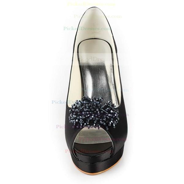 Women's Satin with Beading Stiletto Heel Pumps Peep Toe Platform