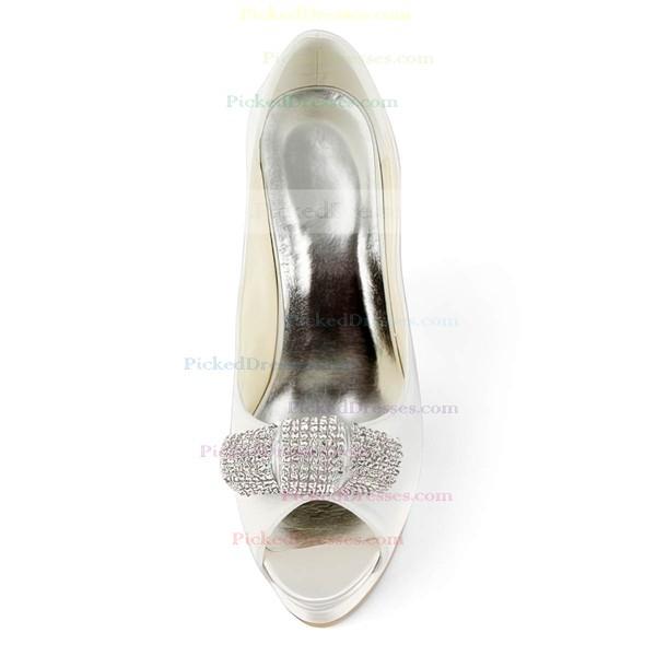 Women's Satin with Sequin Stiletto Heel Pumps Peep Toe Platform