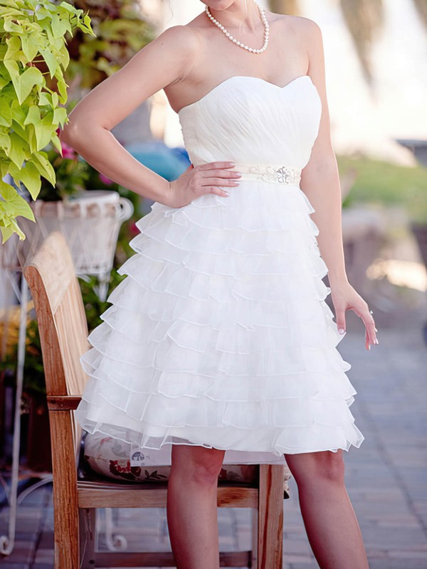Knee-length White Organza Tiered with Sashes/Ribbons Perfect Wedding Dresses #PDS00020562