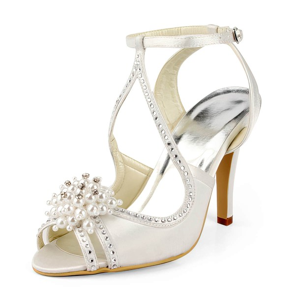 Women's Satin with Buckle Imitation Pearl Beading Stiletto Heel Sandals Peep Toe Slingbacks