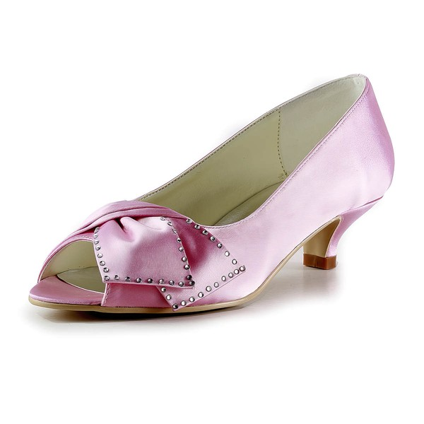 Women's Satin with Beading Kitten Heel Peep Toe