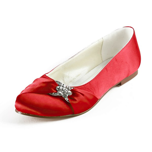 Women's Satin with Crystal Flat Heel Flats