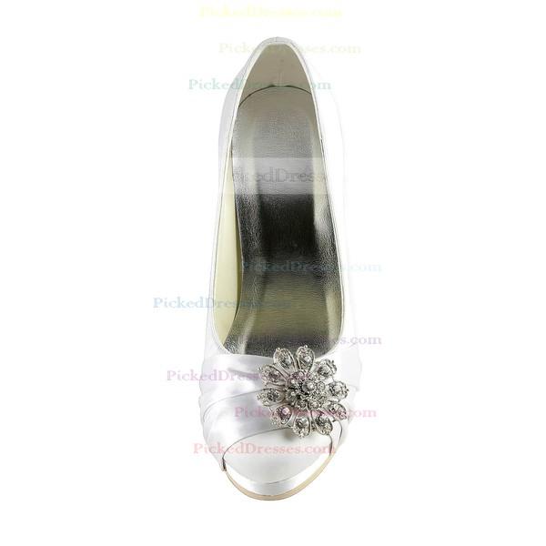 Women's Satin with Crystal Stiletto Heel Pumps Closed Toe Platform