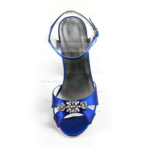 Women's Satin with Buckle Crystal Stiletto Heel Sandals Peep Toe Slingbacks