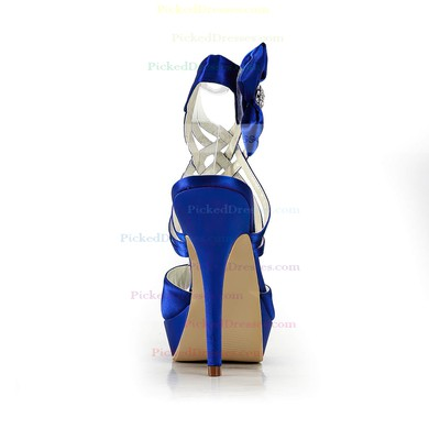 Women's Satin with Bowknot Ribbon Tie Crystal Stiletto Heel Sandals Peep Toe Platform Slingbacks #PDS03030170