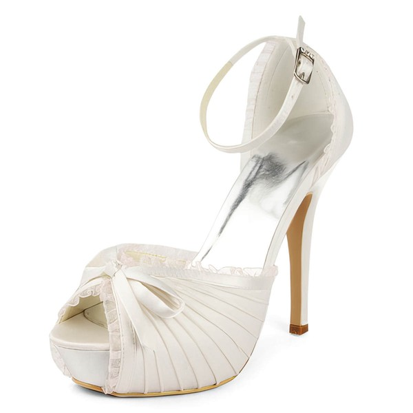 Women's Satin with Buckle Bowknot Ruched Stiletto Heel Pumps Peep Toe Platform
