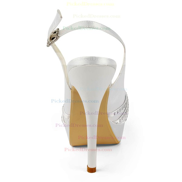 Women's Satin with Buckle Ribbon Tie Beading Stiletto Heel Sandals Peep Toe Platform Slingbacks