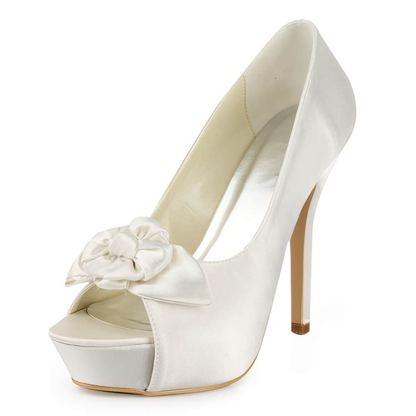 Women's Satin with Flower Stiletto Heel Pumps Peep Toe Platform