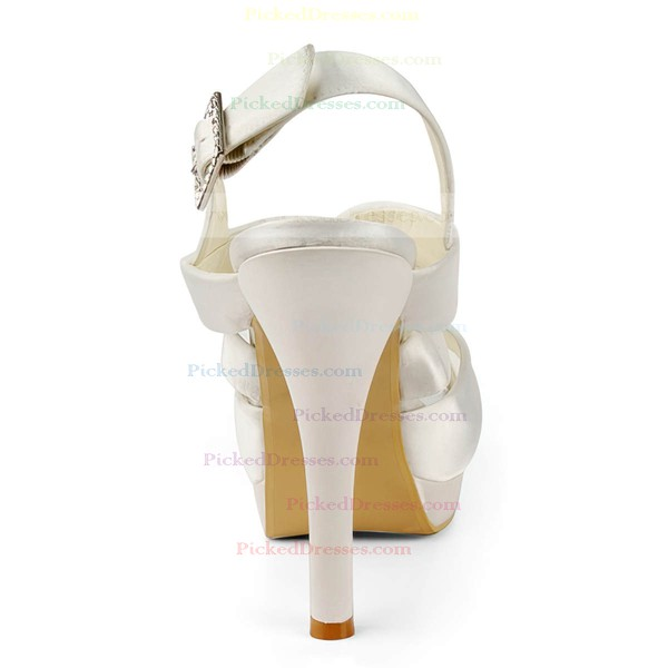 Women's Satin with Buckle Stiletto Heel Sandals Peep Toe Platform Slingbacks