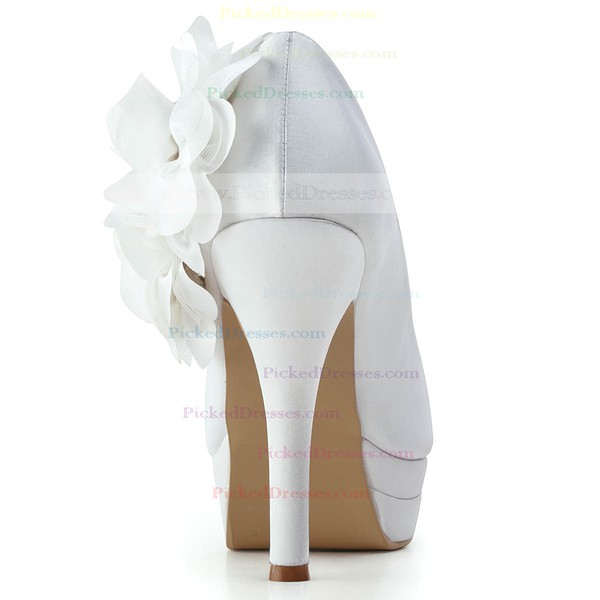 Women's Satin with Flower Stiletto Heel Pumps Closed Toe Platform