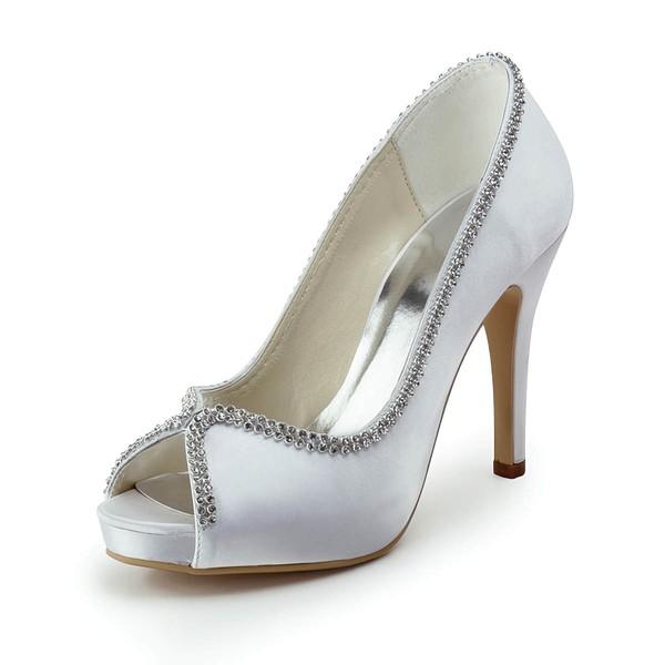 Women's Satin with Crystal Stiletto Heel Platform Peep Toe Pumps