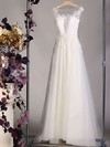 Ivory Tulle Appliques Lace Scoop Neck Court Train Great Wedding Dress