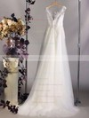 Ivory Tulle Appliques Lace Scoop Neck Court Train Great Wedding Dress #PDS00020564