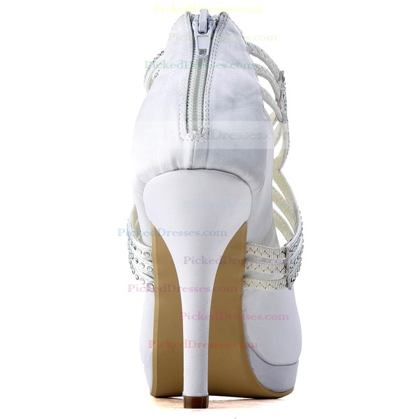 Women's Satin with Ribbon Tie Crystal Stiletto Heel Pumps Closed Toe Platform